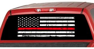 Handmade Products Usa Firefighters Red Pick Up Truck Perforated Rear Window Wrap Decals