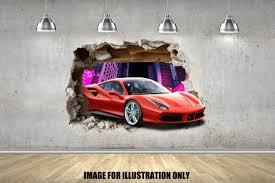 3d Pop Out Red Ferrari 488 Gtb Smash Hyper Super Car Wall Etsy