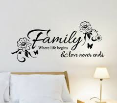 family where life begins butterfly wall sticker home quotes