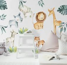 Amazon Com Murwall Kids Wall Decal Safari Animals Wall Sticker For Nursery African Animal Removable Peel N Stick King Lion Hippopotam Elephant Giraffe Decalsck Boys Girls Bedroom Sleeping Animal Decals Handmade