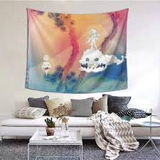 Amazon Com Jenniferjwalkers Kid Cudi Kids See Ghosts Tapestry Wall Blanket Wall Hanging Decorative Art Wall Hanging Living Room Bedroom Dormitory Bedroom Home Decoration Tapestry 60x51 Inches Everything Else