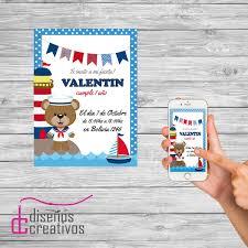 Invitacion Tarjeta Digital Personalizada Marinero Cumpleanos