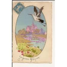 Carte fantaisie joyeuses Pâques, avec Cigogne en plume. | Rakuten