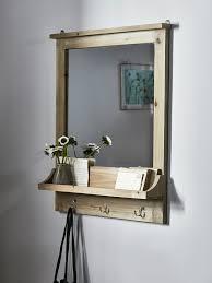 rustic wooden shelf mirror wall