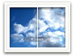 Window View To Blue Sky Wall Decal Pixers We Live To Change