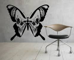 Butterfly Wall Decal Skull Wings Vinyl Sticker Home Gothic Etsy