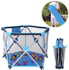 Amazon Com Hopwin Baby Playpen Playard Portable Safety Play Pen Fence Large Ball Pit Travel Crib Tent For Indoor And Outdoor Play Yard Pen Blue From Us Sports Outdoors