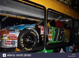 Kyle Busch S Nascar No 18 Race Car Inside Glass Walled Trailer At Stock Photo Alamy
