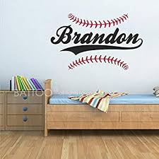 Amazon Com Battoo Personalized Baseball Name Wall Decal Boys Name Wall Decal Sports Wall Decal Boys Room Decor Teen Name Vinyl Wall Decal Baby