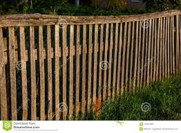 Low Sunshine On A Wooden Fence And Grass Stock Image Image Of Country Brick 123674855