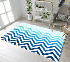 Blue Wave Lines Chevron Area Rugs Soft Kids Bedroom Carpet Living Room Floor Mat Ebay