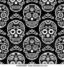 sugar skull vector seamless pattern