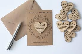 wooden save the date magnets heart