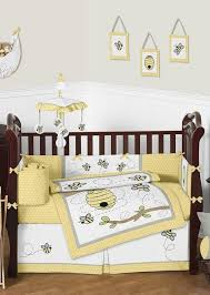yellow and gray honey bee baby bedding