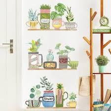 Plants Pots Wall Decal Garden Pot Wall Stickers Kids Wall Etsy