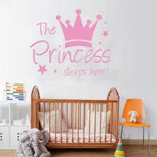 Wjwy The Princess Sleep Here Wall Stickers Crown Stars Wall Decals For Kids Room Girls Bedroom Home Decor Vinyl Art Murals Decor Wall Stickers Aliexpress