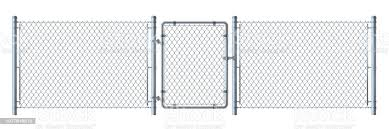 Realistic Metal Wire Fence And Gate Detailed Illustration Isolated On White Background Stock Illustration Download Image Now Istock