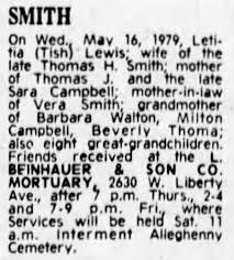 Obituary for Letitia Smith, mother of Sara Smith Campbell ...