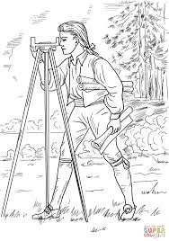 Young George Washington Surveyor and Mapmaker coloring page | Free ...
