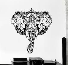 Vinyl Wall Decal India Elephant Head Ornament Animal Stickers Mural Ig4237 Ebay
