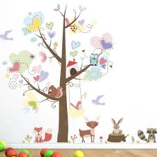 Colorful Tree With Love Heart Shape Leaves Cartoon Animals Owls Fox Squirrel Wall Decals Kids Room Nursery Decor Wallpaper Poster Graphic Large Wall Decal Large Wall Decals From Magicforwall 5 98 Dhgate Com