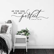 Amazon Com Us Wall Decals Scripture Wall Decal As For God His Way Is Perfect Psalm 18 Quote Lettering Wall Decor Bible Verse Christian Quote Kitchen Dining