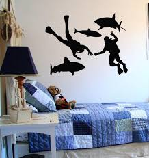 Wall Decal Sticker Bedroom Scuba Diver Mask Water Deep Dive Fish Nursery Bo2823 Ebay