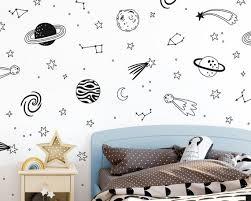 Space Wall Decals Nursery Decals Star Decals Kids Room Etsy