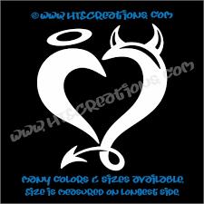 Devil Horns Angel Halo Heart Romance Friendship Sexy Love Car Truck Laptop Wall Vinyl Decal