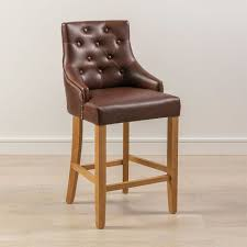 brown faux leather scoop back bar stool