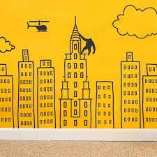 Amazon Com Wallency Doodled City Skyline Removable Wall Decal Handmade