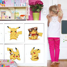 Zs Sticker Pokemon Wall Stickers Kids Home Decor Cartoon Wall Decal For