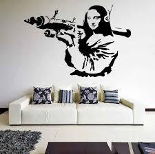 Banksy Vinyl Wall Decal Mona Lisa Rocket Launcher Davinci Art Graffiti Sticker Z218 Vinyl Wall Decals Wall Decalsvinyl Wall Aliexpress