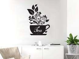 Amazon Com Wall Decal Tea Vinyl Sticker Decals Tea Cup For Kitchen Cafe Canteen Home Decor Art Bedroom Design Interior C241 Home Kitchen