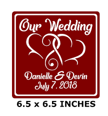 Our Wedding W Names Date Custom Vinyl Decal For 8 Glass Block Crafts Hearts
