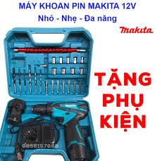 Máy khoan PIN cầm tay MAKITA 12v có phụ kiện - máy khoan pin -khoan sắt -  khoan gỗ - bắt vít - máy siết bulong - máy khoan cầm tay - máy khoan mini