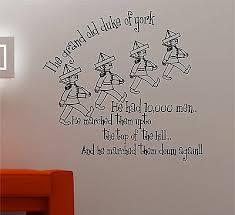 Grand Old Duke Of York Nursery Rhyme Wall Art Quote Sticker Vinyl Kids Bedroom Ebay