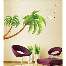 Amazon Com Dgi Mart Coconut Tree Large Palm Tree Seagull Removable Wall Decal Sticker Kitchen Dining