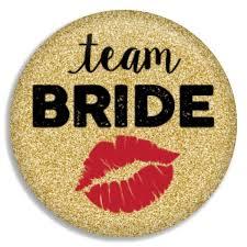 Faux Gold Glitter Team Bride Button Buttons Gift