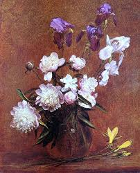Henri Fantin Latour Bouquet Of Peonies And Iris Wall Decal Print Contemporary Wall Decals By Art Megamart