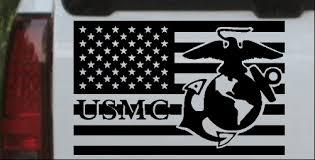 Us American Flag Usmc Marines Car Or Truck Window Decal Sticker Or Wall Art Decalsrock