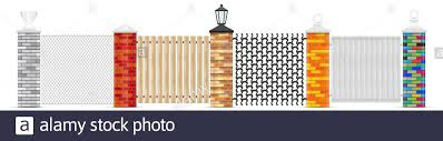 Brick Fence Posts Isolated Brick Pillars Of Different Colors With Variuos Top Head Design Chain Link Fencing Wooden Fence Wrought Iron And Solid W Stock Photo Alamy