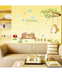Baby Room Decor Garden Nursery Kids Theme Girl Swinging On Branch With Cute Cats Wall Stickers Wall Decals Decalsdesignindia