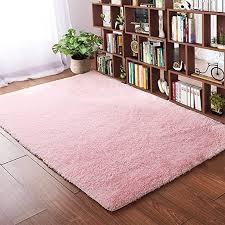 Amazon Com Softlife Fluffy Bedroom Area Rugs 4 X 5 3 Feet Shaggy Nursery Rug For Girls Baby Kids Dorm Room Modern Home Decorative Plush Indoor Floor Carpet Pink Home Kitchen