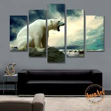 5 Panel Picture Polar Bear Painting Animal Painting For Living Room Mo Ellaseal