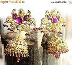 purple gold jhumka earrings turkish