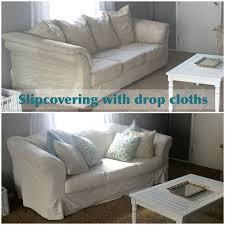 drop cloth slipcover tutorial blush