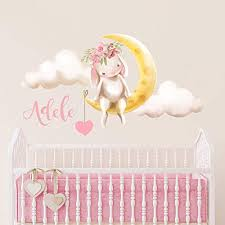 Amazon Com Nursery Wall Decals Baby Girl Personalized Name Bunny Clouds Peel And Stick Handmade