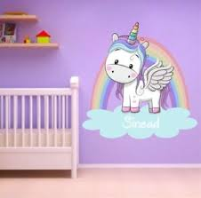 Personalised Unicorn Rainbow Wall Sticker Girls Bedroom Wall Art Nursary Decal Ebay
