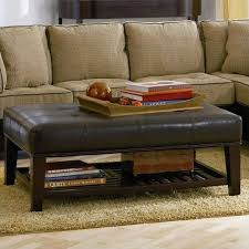 brown faux leather tufted ottoman